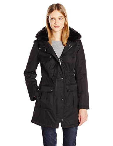 kensie Women's Bonded Parka Jacket with Adjustable Waist Removable Faux Fur Collar, Black XS from kensie