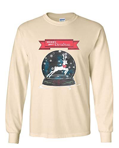 Reindeer Snow Globe Long Sleeve T-Shirt Merry Christmas Xmas Rudolph Santa Tee Natural S - Natural Snowglobe