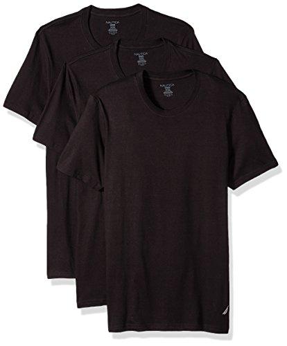 Nautica Men's Cotton Crew Neck T-Shirt-Multi Packs, Black New, XL