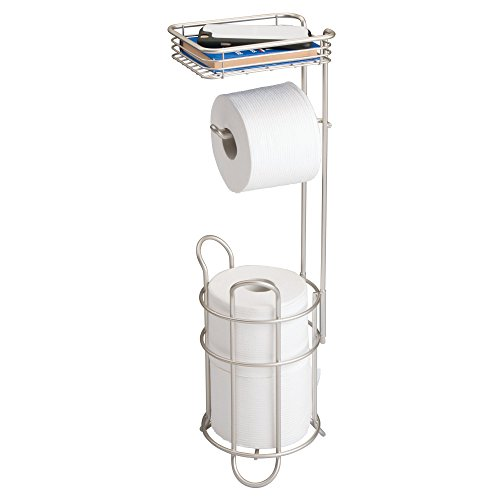 mDesign Freestanding Metal Wire Toilet Paper Roll Holder Stand and Dispenser with Storage Shelf for Cell, Mobile Phone - Bathroom Storage Organization - Holds 3 Mega Rolls - Satin (Single Compact Bowl)
