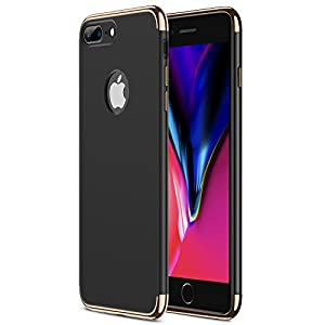 iPhone 8 Plus Case, RANVOO Slim Fit Hard Stylish Thin Case with 3 Detachable Parts [Support Wireless Charging] for Apple iPhone 8 Plus Only, CHROME GOLD and MATTE BLACK [CLIP-ON]