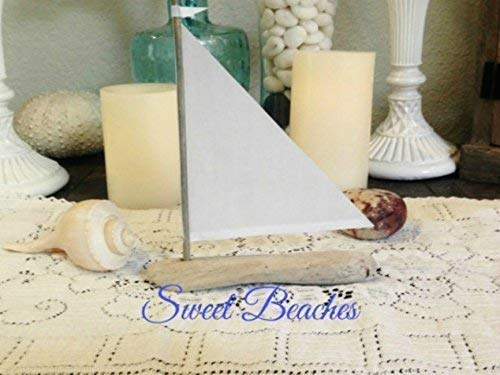 (Driftwood Sailboats Linen Sails 6 to 8 inches Seaside Nautical Decor Wedding Center Peice Cake)