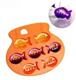 DGI MART Party Supplies 7-cavity Cute Lovely Lovely Fish Shaped Ice Cake Chocolate Sugar Decorating Silicone Mini Cube Craft Fondant Mold Tray(Colour by Random)