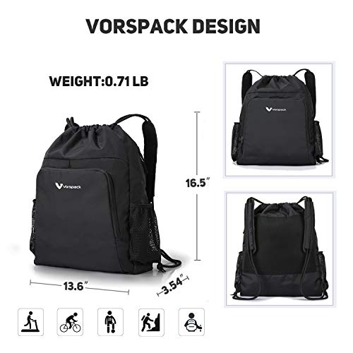 Drawstring Backpack Nylon Sports Gym Waterproof String Bag Cinch Sack  Gymsack for Men Women a0e60f797953a