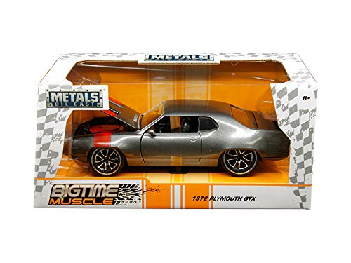 Jada 1972 Plymouth GTX 440 Metallic Gray with Red Stripe Bigtime Muscle 1/24 Die-cast Model Car 30530