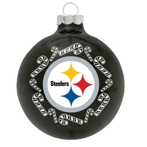 The Memory Co Pittsburgh Steelers Candy Cane Black Glass Ball Ornament