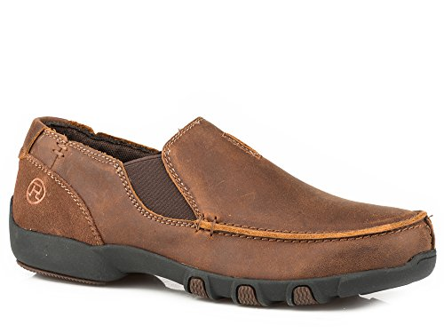 Roper Girls' Buzzy Vintage Leather Driving Mocs Moc Toe Brown 10 D ()