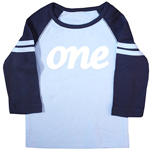 Happy Family Clothing Baby Boys' ONE First Birthday Raglan T Shirt (12-18 Months, Light Blue & Navy)