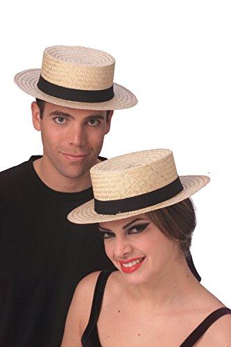 [49212 (M 7) Unisex Economy Straw Sailor Hat] (Sailor Straw Hat)