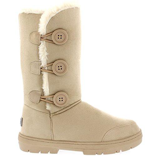 Mujer 3 Botón Clásico Lluvia Nieve Forrada De Piel Zapato Invierno Bota Beige