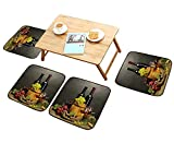 HuaWu-home Fillet Chair Cushion Barrel Bottles and Glasses of Wine and ripe Grapes on Wooden Table on Grey Suitable for The Chair W13.5 x L13.5/4PCS Set