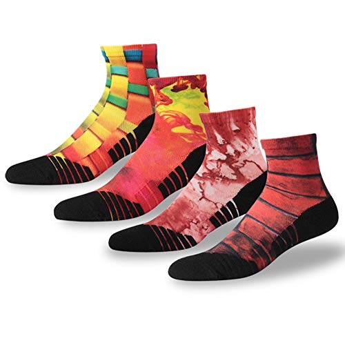 Running Padded Socks, NIcool Men's Novelty Print Anti-Blister Cushion Breathable Thick Walking Hiking Tennis Mini Crew Socks, 4 Pairs, Multicolor