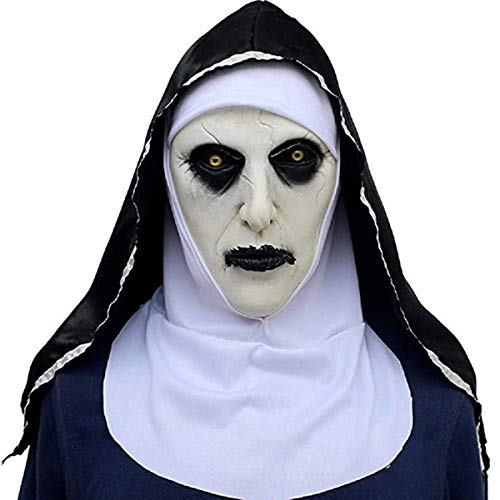 Lucky Lian Nun Mask with Hood for Adult Horror Halloween Party -