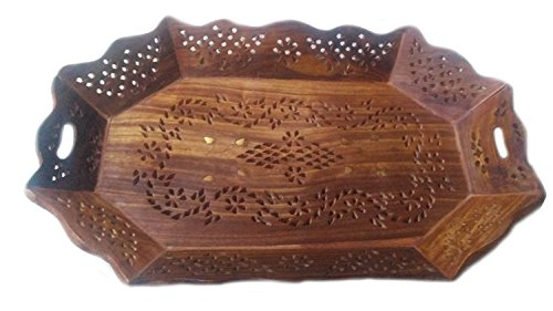 Cheap  Wooden Handmade Serving Tray for Hot & Cold Drinks, Octal Shape with..