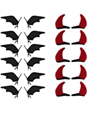 DS.DISTINCTIVE STYLE Halloween Hair Alligator Clips Bat and Devil Horns Hair Clips 12 Pairs Hair Accessories Hair Barrettes Clips for Cosplay