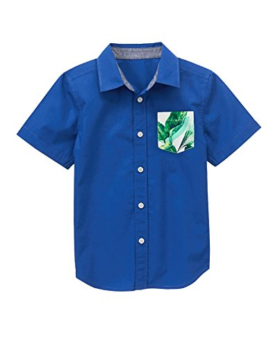 Gymboree Boys Printed Woven Shirt, Navy, S