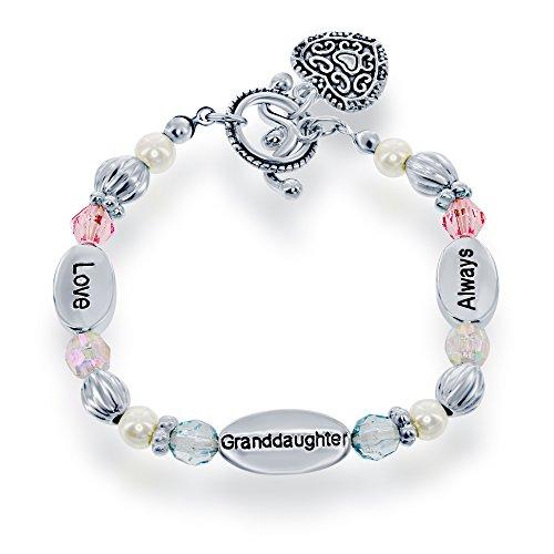 Silvertone 6 Love, Granddaughter, Always Heart Toggle Pink & Blue Beads Stretch Childrens Bracelet