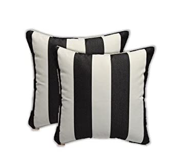 Set Of 2   Sunbrella Black And White Stripe   In/Outdoor Square Throw /