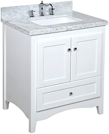 Abbey 30-inch Bathroom Vanity Carrara/White : Includes White Cabinet