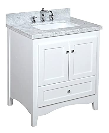 Kitchen Bath Collection Kbc3830wtcarr Abbey Bathroom Vanity Set With Marble Countertop Cabinet With Soft Close