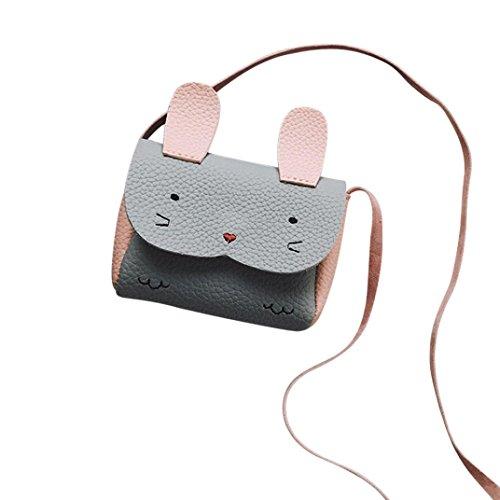 KONFA Crossbody Bags,Teen Toddler Baby Girls Boys Lovely Cartoon Rabbit Handbag Coin Holder Wallet Bag (Grey) Lovely Coin Bag