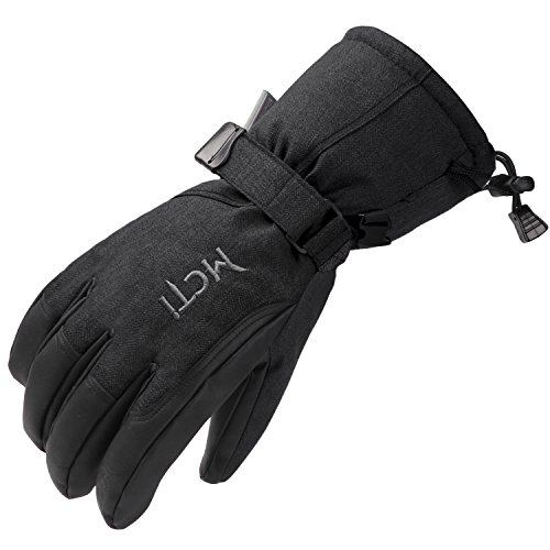 MCTi Waterproof Ski Gloves Winter Snow Snowboard PU Leather Breathable Gloves 3M Thinsulate Insulation for Mens Womens Black X-Large
