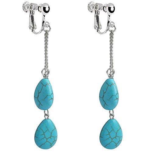 BFF Jewelry Retro Stripe Turquoise Clip On Dangle Earring Long Chain Tassel Screw Back Art Deco for Kids Girls Women