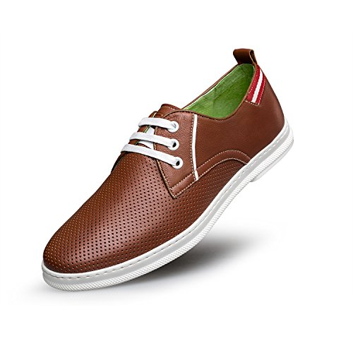 ZRO Mens Genuine Leather Casual Lace-Up Shoes Perforated Brown ky107rEh3