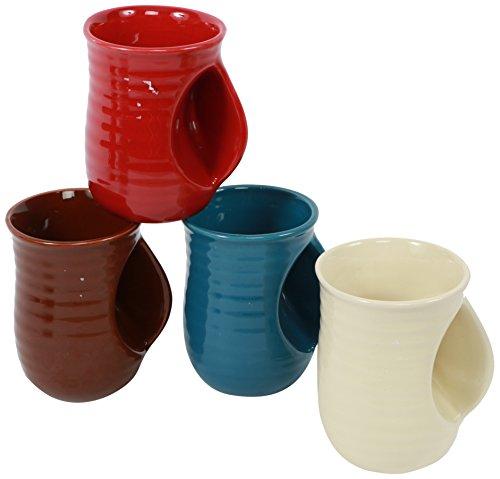 DEI Stoneware Handwarmer Mug, 18-Ounce, Set of 4 (Contemporary Coffee Mugs)