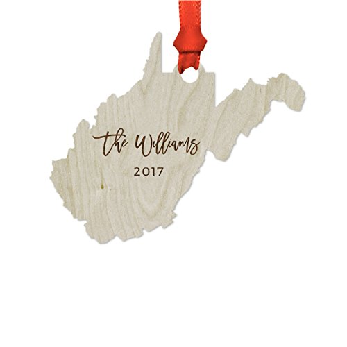 ized Laser Engraved Wood US State Christmas Ornament, Custom Names, West Virginia, 1-Pack, Includes Ribbon and Gift Bag ()