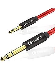 LinkinPerk Cable 3,5mm a 6,35mm,Cable Audio Estéreo HiFi Macho a Macho para móviles,Guitarras, Amplificadores Mesas de Mezclas,Tablets, Cine en Casa