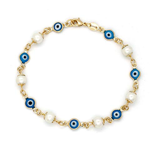 JEWELRY PARADISE White Pearls and Blue Evil Eye Glass Beads Woman Lucky Charm Bracelet Dress Chain 14kt Gold Filled Overlay-Plated Good Luck Protection Kabbalah Spiritually Ojo Turco y Perlas (5)