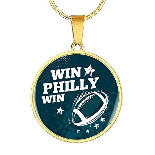 Express Your Love Gifts Win Philly Win Stainless Steel-Silver Tone or 18k Gold Finish-Pendant Necklace Adjustable 18