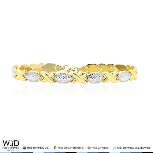 14k Two-Tone Gold Diamond Cut XO Hollow Link Hugs & Kisses Link Bracelet 8'' by WJD Exclusives
