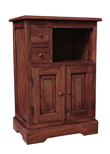 "NES Furniture nes10143 32"" Fine Handcrafted Furniture Solid Teak Wood Leon Bar Cabinet"