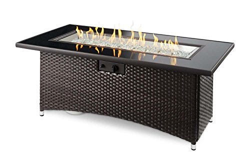 Outdoor Great Room Montego Crystal Fire Pit Coffee Table with Balsam Wicker Base ()