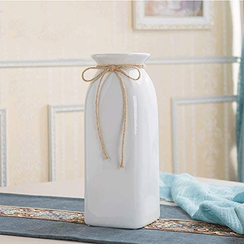 Kouintl Simple Modern Living Room Ceramic Hemp Rope Vase Home Creative Decoration Small Fresh Dried Floral Hydroponics White Vase Color 30.5cm