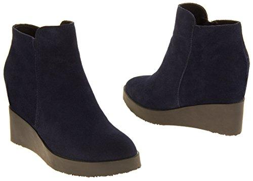 Mujer Betsy Auténtica cremallera de cremallera oculta botas de tobillo cuña Azul DK