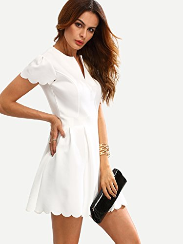 SheIn Women's Scalloped Pleated Cocktail Party Skater Dress X-Small White