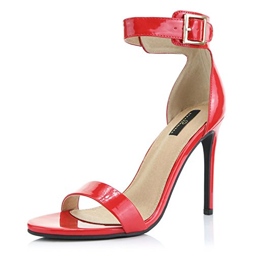 (DailyShoes Women's Fashion Open Toe Ankle Buckle Strap Platform High Heel Casual Sandal Shoes, Red Patent, 8 B(M) US)