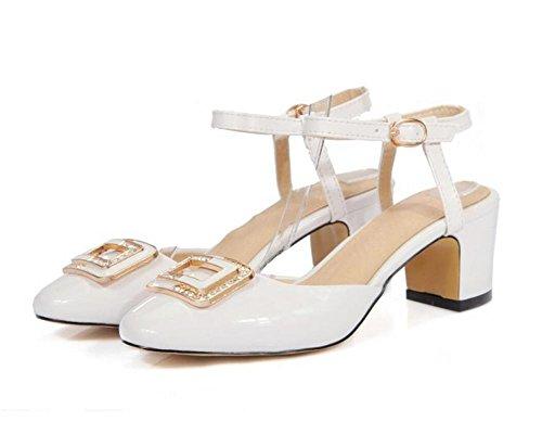 XIE Dedo del pie Cuadrado para Mujer Rhinestone Hebilla Media con Tacón Grueso bajo para Ayudar a los Zapatos de la Corte, 37 WHITE-39