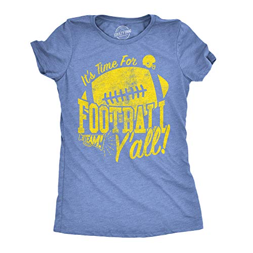 Womens Its Time for Football Yall Funny T Shirt Game Day Graphic Top for Mom (Heather Light Blue) - S