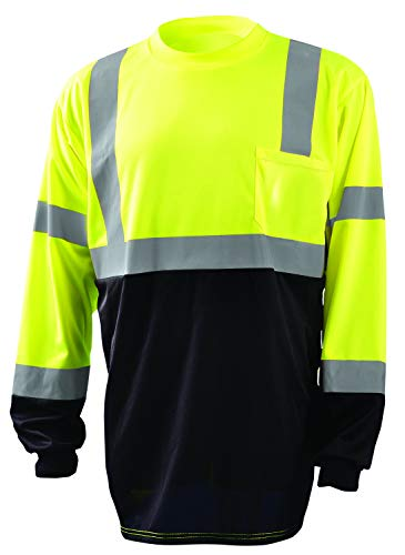 OccuNomix LUX-LSETPBK-YL Classic Standard Long Sleeve Wicking Birdseye Black Bottom T-Shirt, Class 3, 100% ANSI Wicking Polyester Birdseye, Large, Yellow (High Visibility)