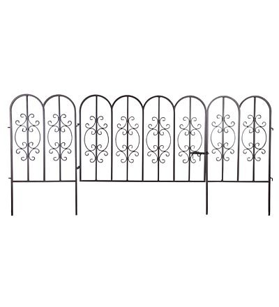 Montebello Iron Metal Scroll Outdoor Garden Fence With Gate 72 L X 34 H  Overall Burnished