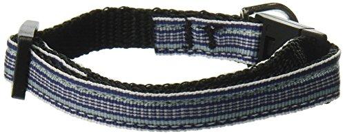 Mirage Pet Products Preppy Stripes Nylon Ribbon Cat Safety Collars, Light Blue/White