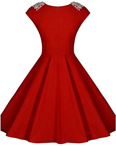 Mujer Vestido Sin Mangas De Vendimia Cuello Redondo Vestido Rojo
