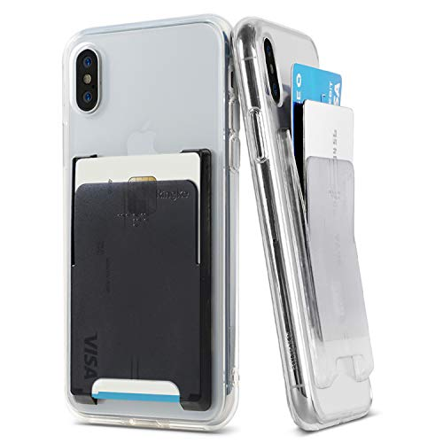 Ringke Slot Card Holder [Jewel Series] [Clear Mist + Onyx Black] Minimalist Slim Hard Premium Transparent PC Mini Clip ID Adhesive 3M Stick On Credit Card Accessory Attachment