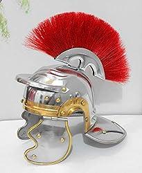 brass gift store Brass Greco Roman Helmet RED Crest