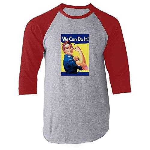 - Rosie The Riveter We Can Do It Red M Raglan Baseball Tee Shirt