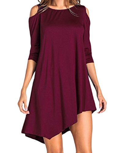 Coolred Out Irregular Dress Shoulder Color Red Pure Wine Simple Cut Short Women xBw4ExC